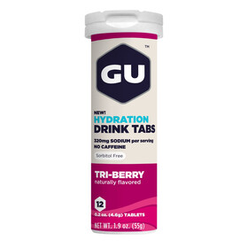 GU Energy Brew Hydration - Nutrition sport - 3 fruits rouges 12 tablettes rose/blanc